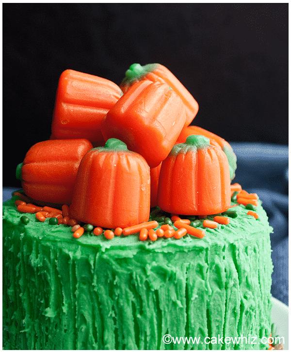 easy pumpkin cake with pumpkin candies 4