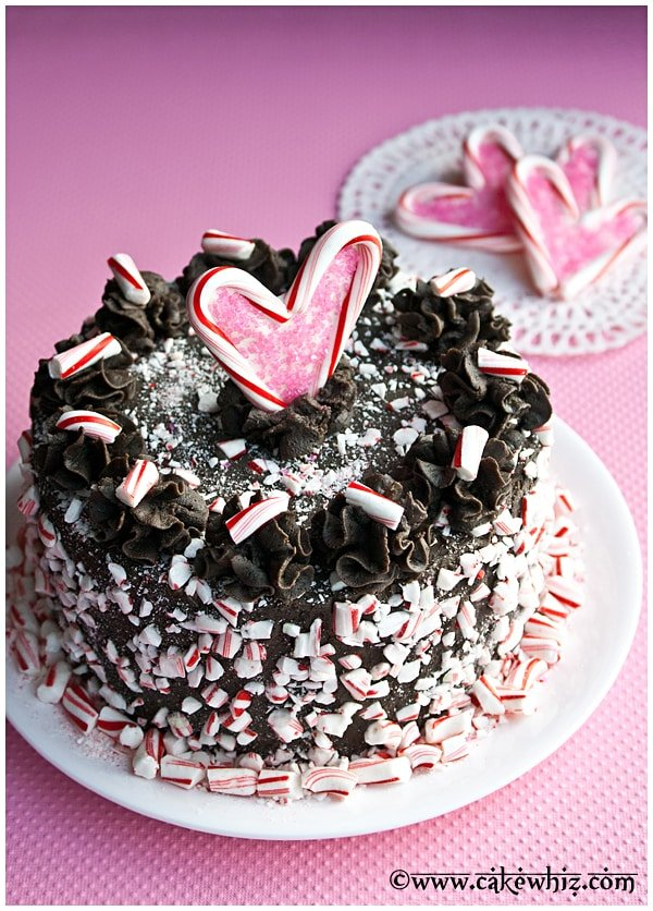 candy cane heart cake