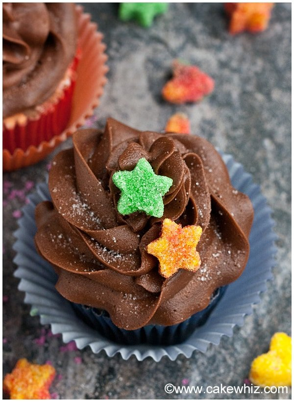 Chocolate Cupcakes with Star Decorations