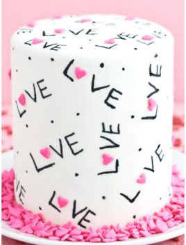 Easy Love Cake on White Plate With Pink Background
