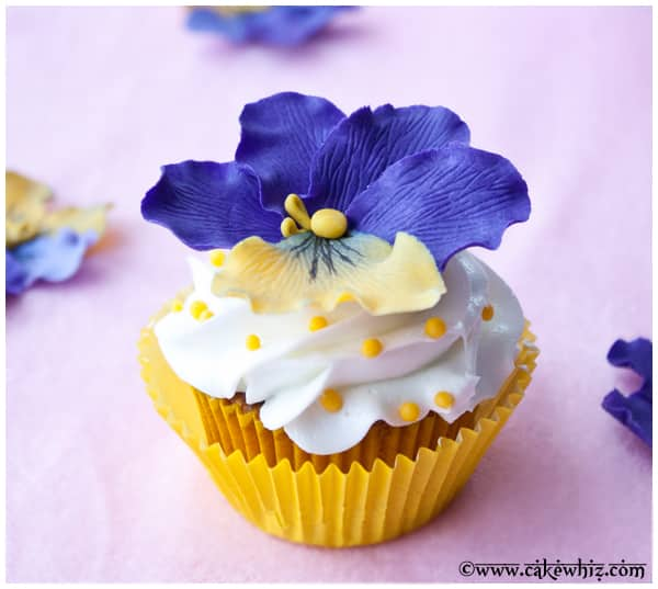 pansy flower cupcakes