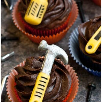Happy Father's Day Cupcakes on Rustic Gray Background