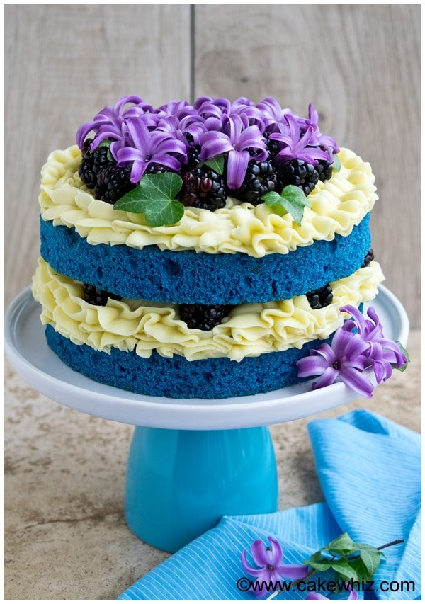 Naked Cake with Flowers and Fruits