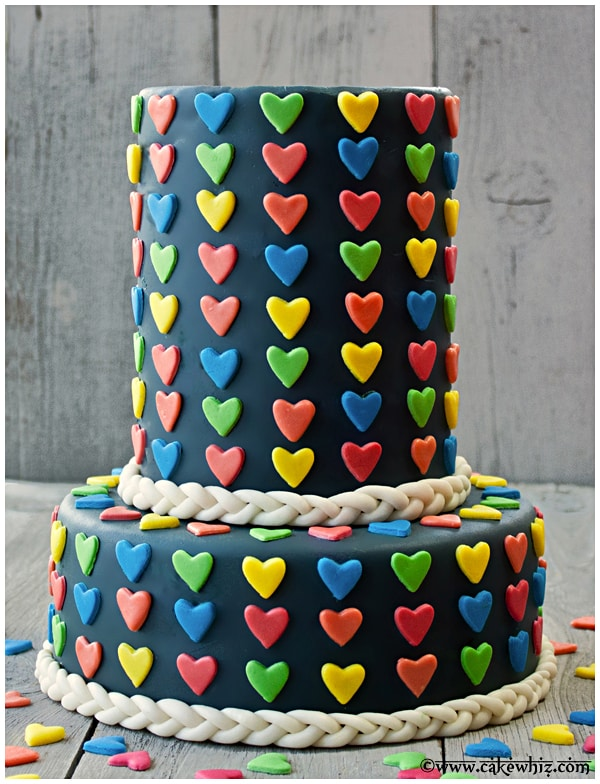 valentine's day cake with jumbo heart sprinkles