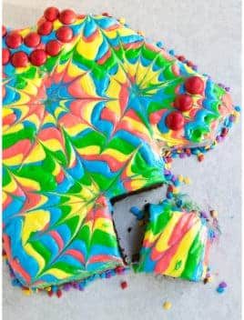 Homemade Tie Dye Shirt Cake With One Slice Cut Out