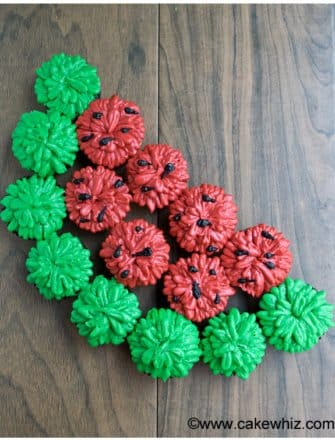 Easy Watermelon Cupcakes on Rustic Wood Background- Overhead Shot