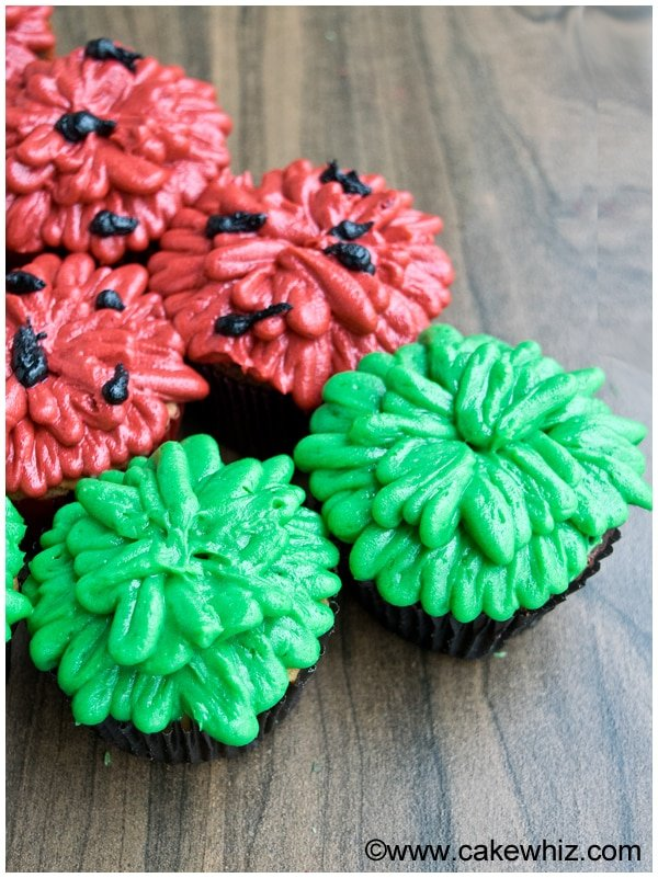 Homemade Pull Apart Watermelon Cupcake Cake on Wood Background- Closeup Shot