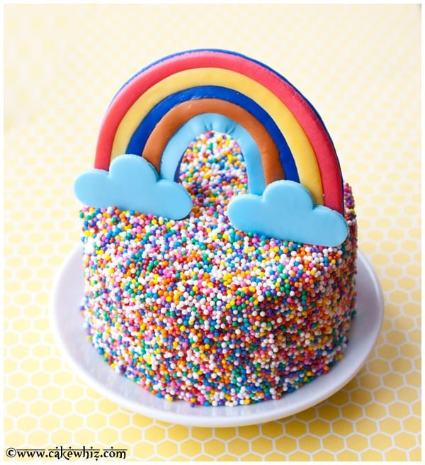 rainbow and sprinkles cake