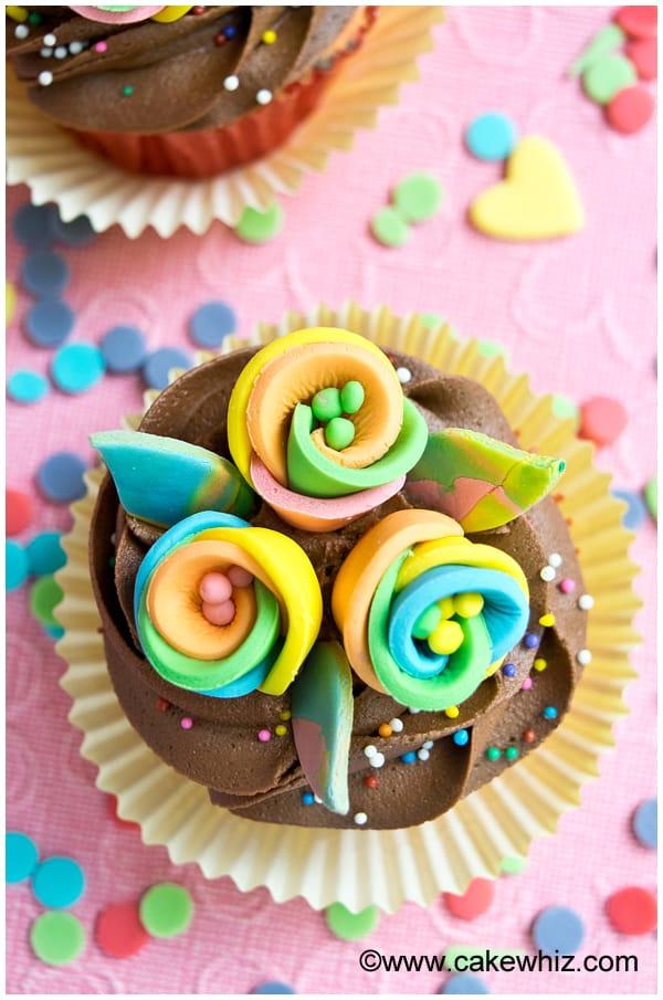 rainbow flower cupcakes 4