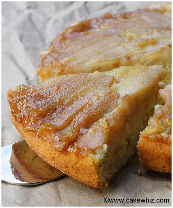 upside down pear and coconut cake 02