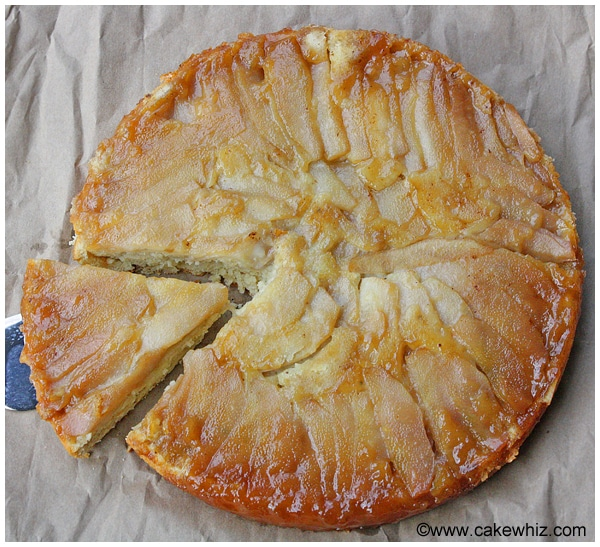 upside down pear and coconut cake 05