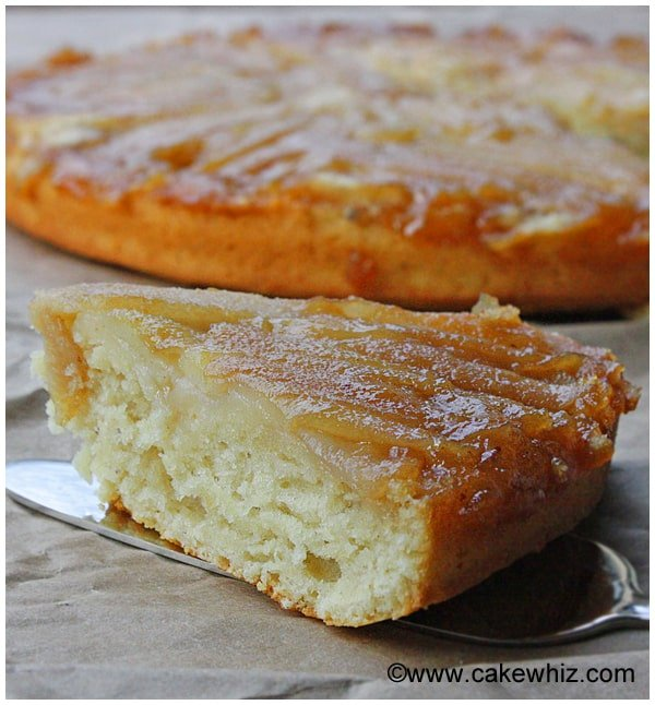 upside down pear and coconut cake 07