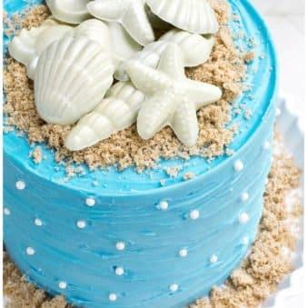 Easy Beach Cake on White Cake Stand