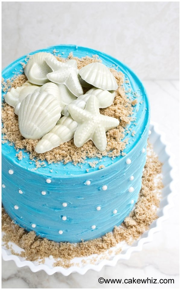 Easy Beach Cake on White Cake Stand