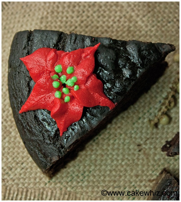 fat free chocolate cake with poinsettias 01