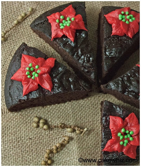 fat free chocolate cake with poinsettias 08