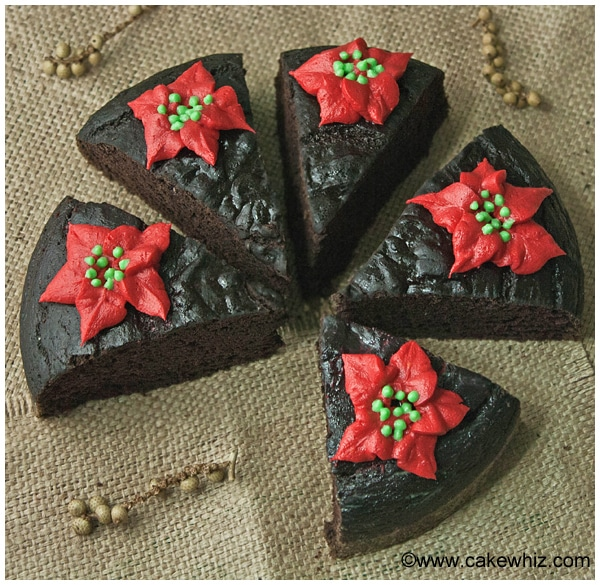 fat free chocolate cake with poinsettias 11