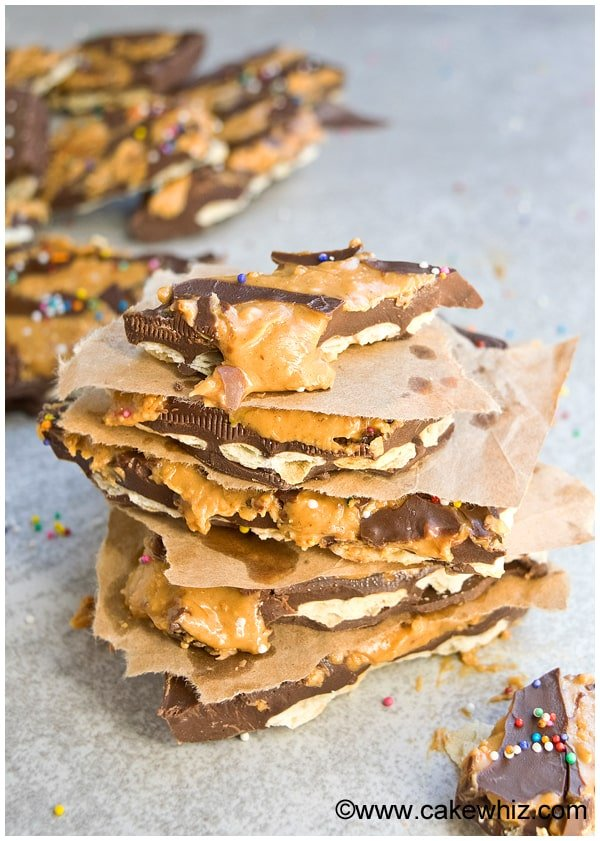chocolate peanut butter cracker bark 7