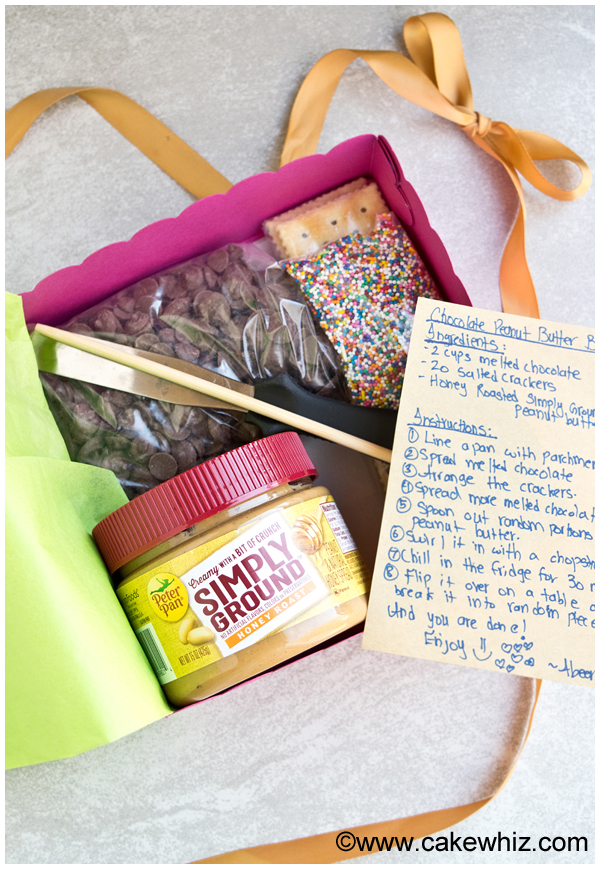 homemade gift box for chocolate peanut butter cracker bark 10