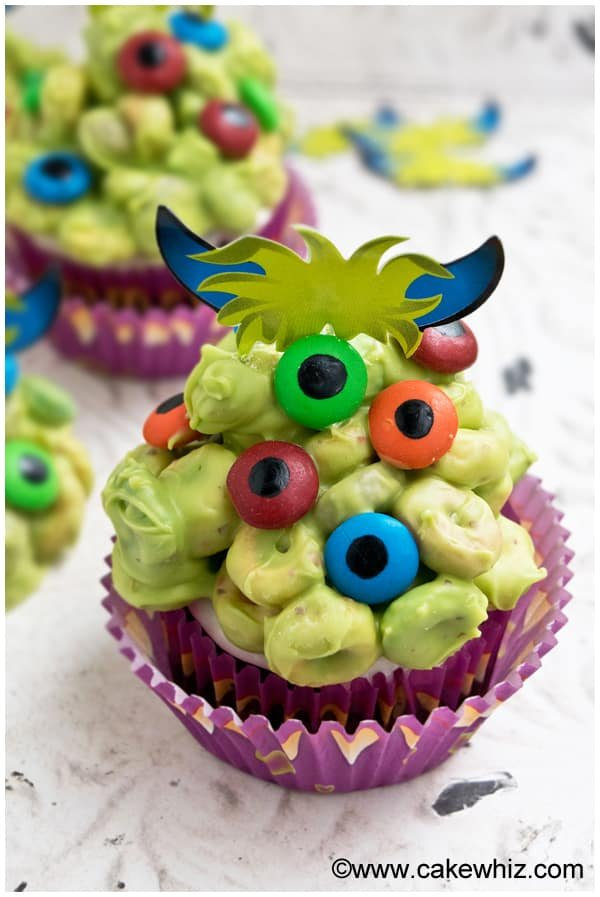 Quick and Easy Monster Cupcakes for Halloween