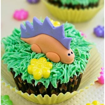 Easy Dinosaur Cupcakes on Yellow Background