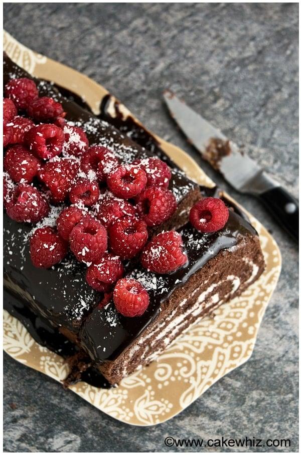 mocha cake roll with raspberries 3