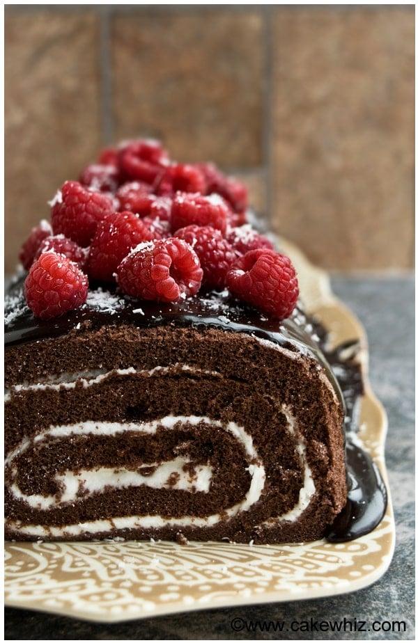 mocha cake roll with raspberries 5