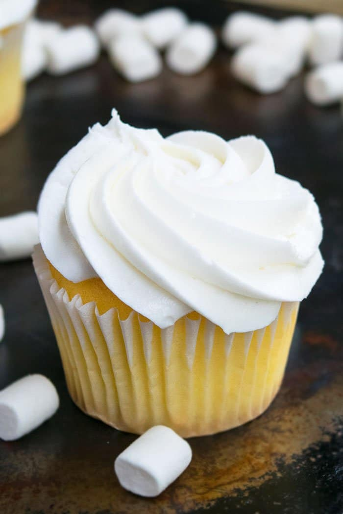 Vanilla Cupcake with Vanilla Frosting on Rustic Background