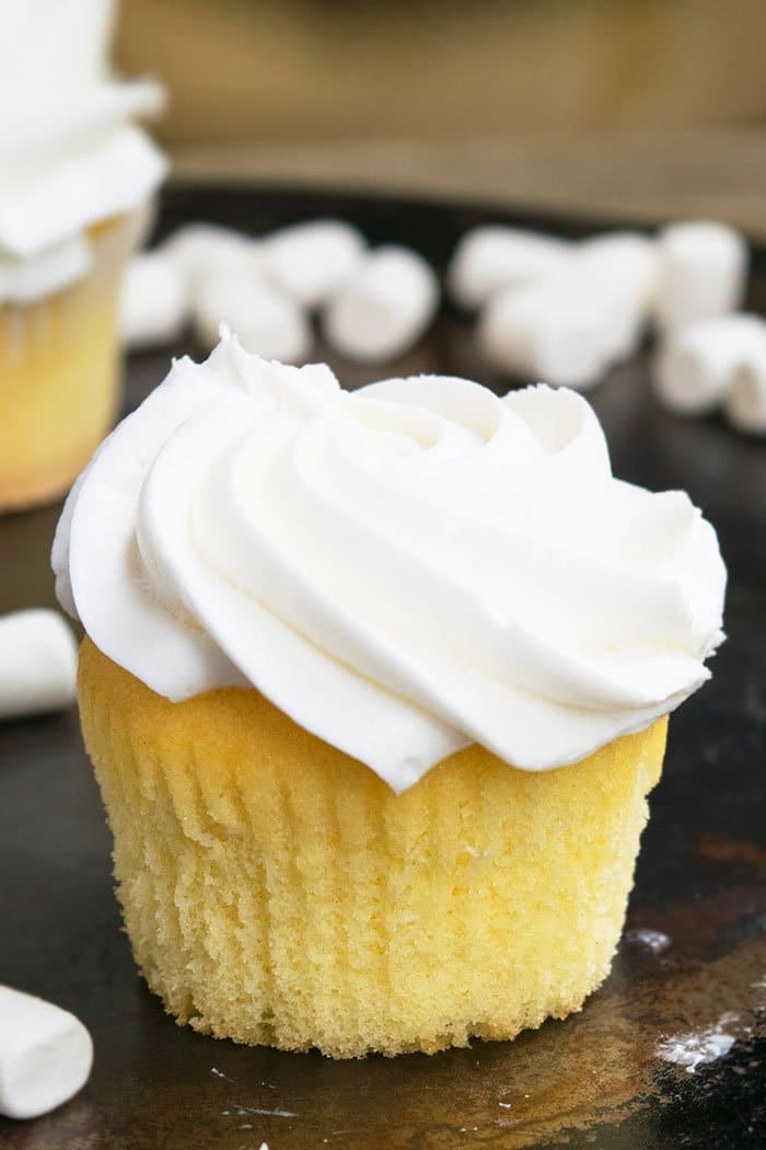 Easy Vanilla Cupcake Recipe Without Liner on Rustic Background