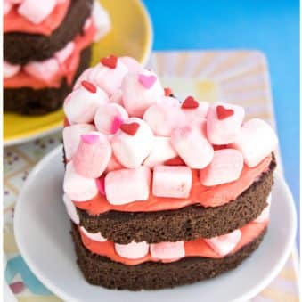 Easy Homemade Chocolate Marshmallow Cake (Heart Cake) on White Plate With Colorful Background