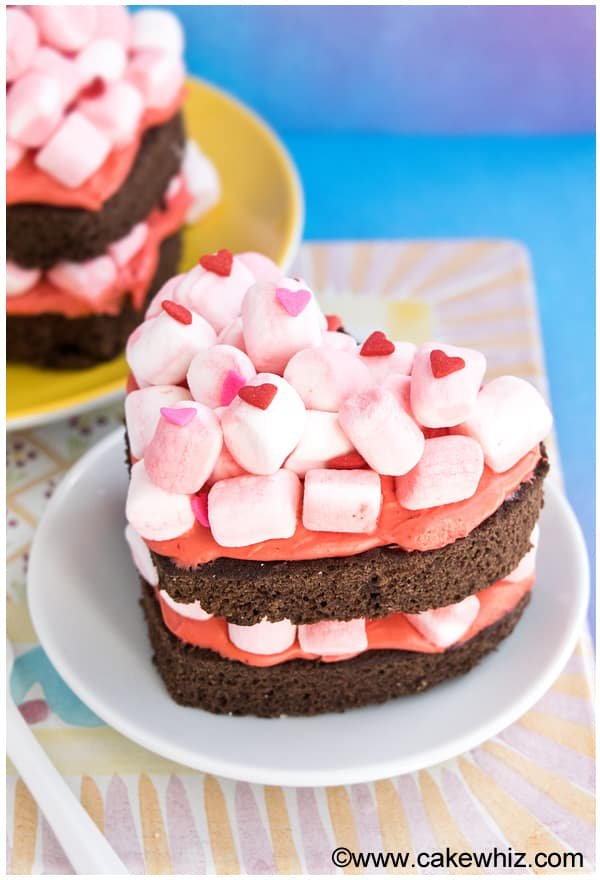 mini heart shaped chocolate marshmallow cake 2