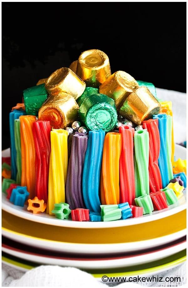 easy rainbow twizzler cake