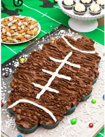 Easy Pull Apart Football Cupcakes Cake on Rustic Gray Tray