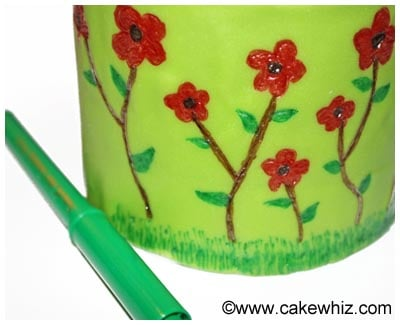 spring cake with flowers and bumblebee 10