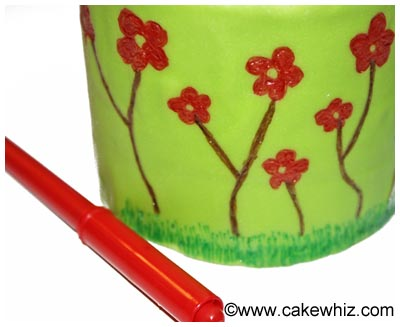spring cake with flowers and bumblebee 12