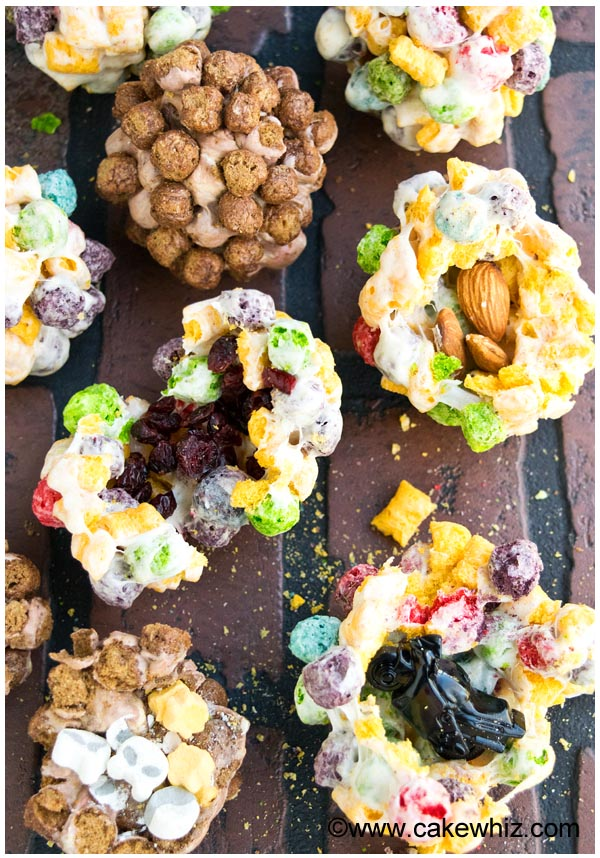Edible Pinata Balls Placed on Brick Background With Multiple Filling Options