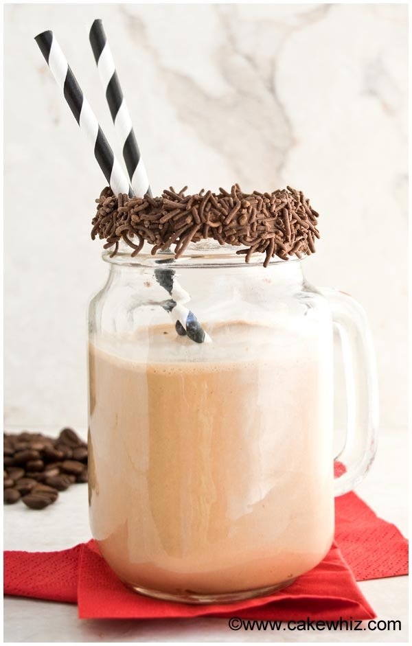 Coffee Smoothie in Glass Cup with Chocolate Covered Rim