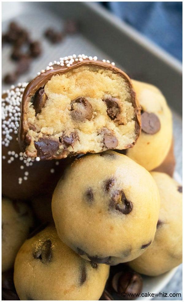 Chocolate Chip Cookie Dough Truffles Eggless Cakewhiz