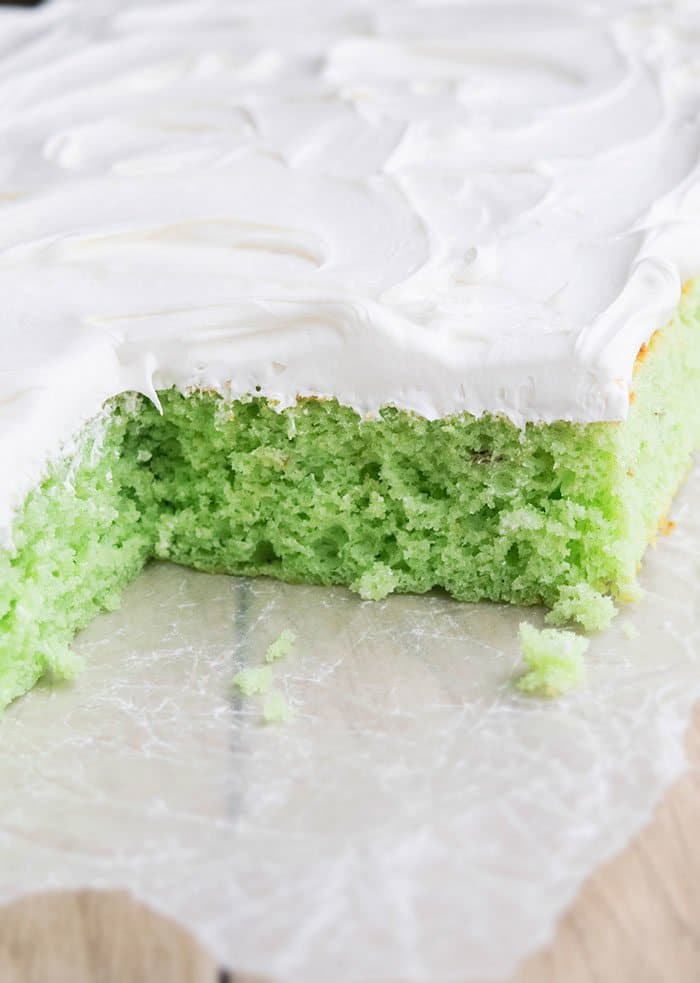 Closeup Shot of Green Cake With Whipped Cream on Parchment Paper