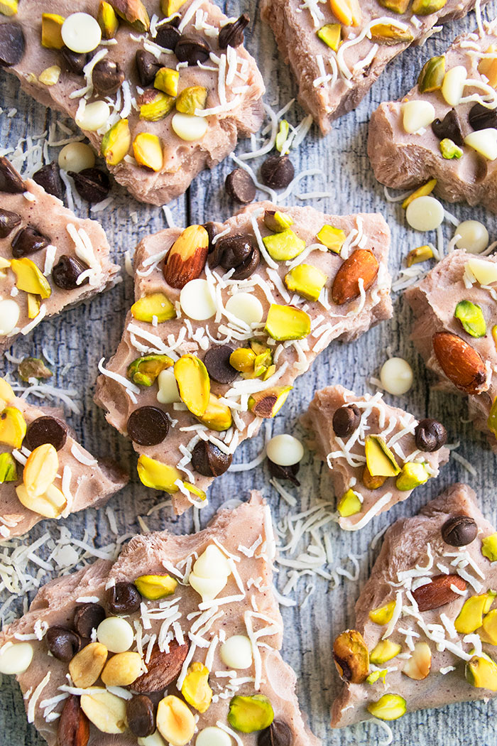 Frozen Chocolate Yogurt Bark With Nuts