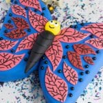 Easy Homemade Butterfly Cake on White Background With Sprinkles