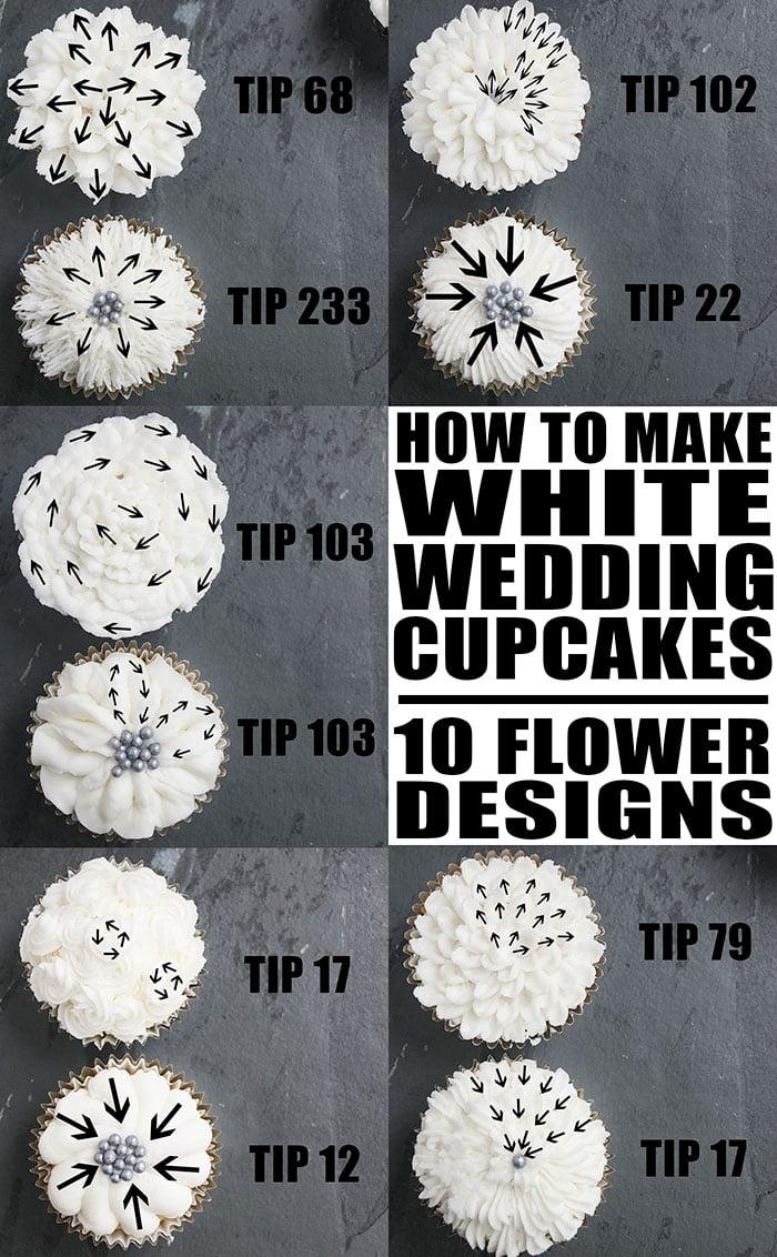 White Wedding Cupcakes Tutorial