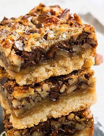 Chocolate Pecan Pie Bars with Shortbread Crust Recipe