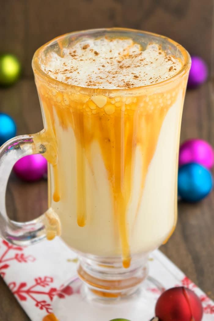 Non Alcoholic Eggnog Recipe with Caramel Sauce (Homemade)