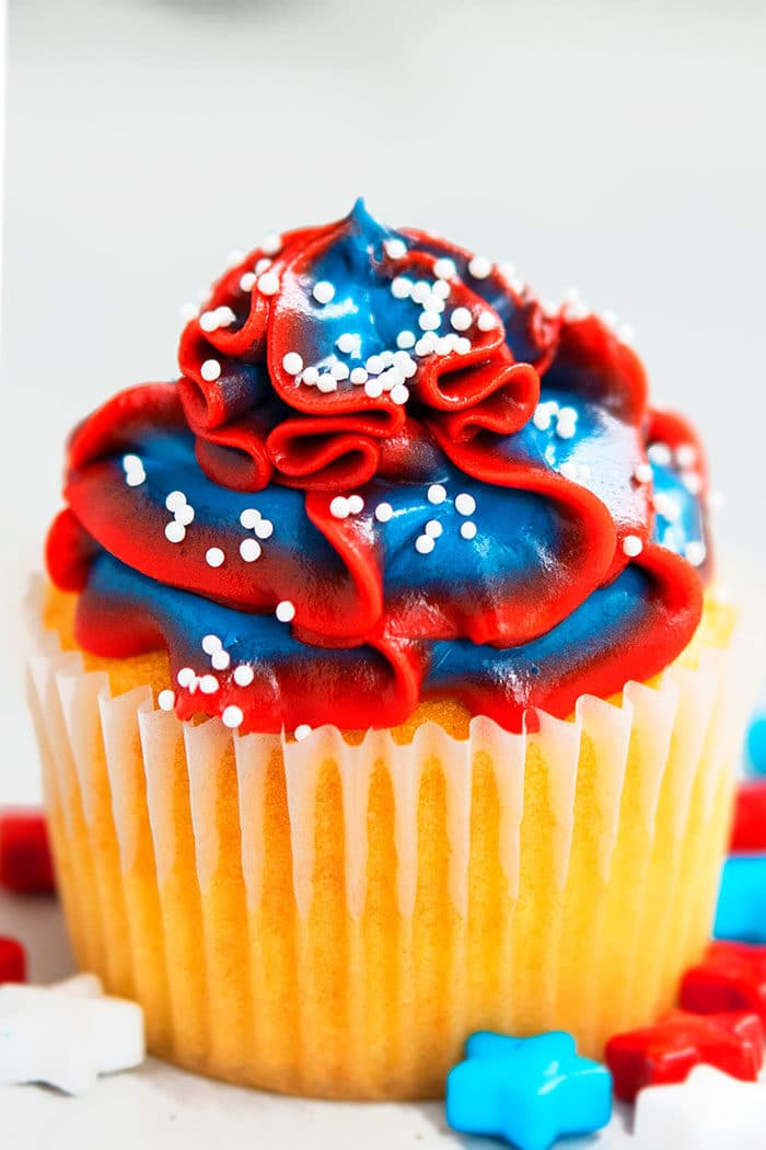 Easy Red White and Blue Cupcakes Recipe