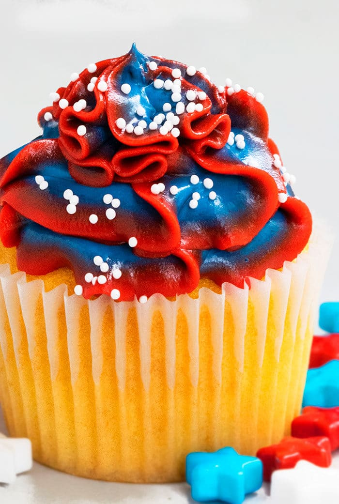 Patriotic Cupcakes with Red White and Blue Frosting Swirl