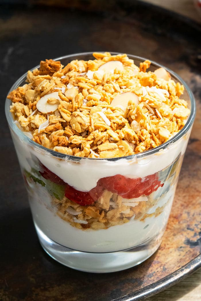 Healthy Yogurt Parfait With Vanilla Yogurt, Granola and Fruits