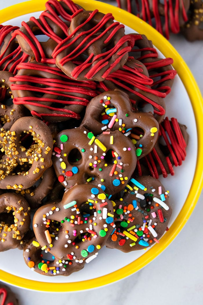 A Platter of Variety of Homemade Chocolate Pretzels