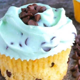 Easy Chocolate Chip Cupcakes with Mint Frosting