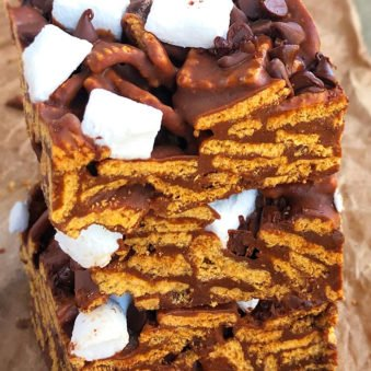 Stack of Easy Smores Bars Recipe (No Bake)